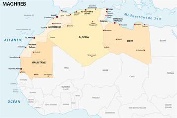 administrative and political vector map of the Maghreb states