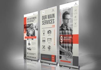 Gray and White Banner Advertisement Layout with Red Accents