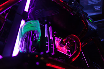 close up of pc for gaming with colorful led.