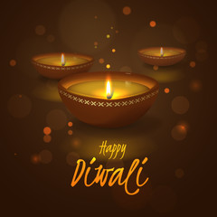 Vector festive illustration for Indian Hindu holiday Deepavali with 3D realistic oil lamp and effect bokeh. Dark background for design of banners for festival of lights with text Happy Diwali and diya