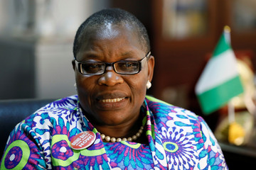 Former Nigerian minister and Chibok girls activist Obiageli Ezekwesili speaks during an interview with Reuters in Abuja