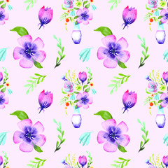 Watercolor drawing a bouquet of flowers in a vase. Seamless pattern