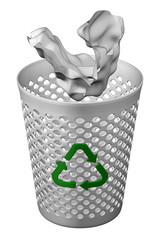 Crumpled paper fall in wastepaper basket with recycling symbol. 3D rendering.
