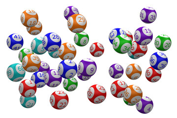 Color lotto ball. 3D rendering.