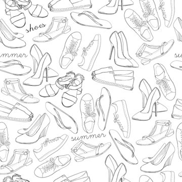 Hand drawn sketch seamless pattern of Shoes. Running shoes sneakers, boots, flip flops, boots, moccasins, loafer with lettering. Design element. Coloring book, Wrapping paper