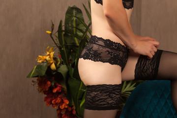 Woman dressing stockings