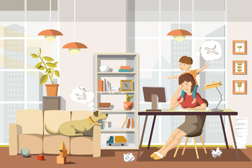 Working Mother. Vector Illustration.