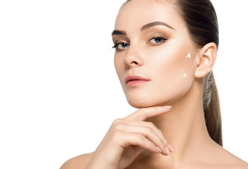 face with lifting arrows on skin showing facelift effect