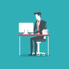 businessman hardworking icon vector