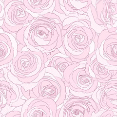 Pink roses seamless vector pattern. Floral background