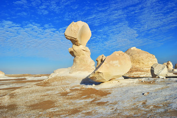 The limestone formation in White desert Sahara Egypt