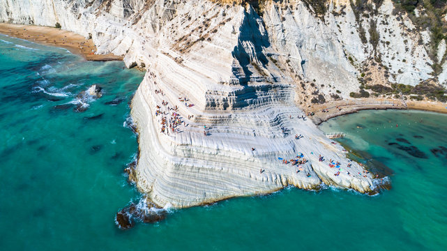 Aerial. Scala dei Turchi. A rocky cliff on the coast of Realmonte, near Porto Empedocle, southern Sicily, Italy.