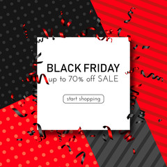 Black friday sale red geometric promo poster with serpentine.