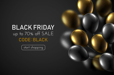Black friday sale promo poster with gold and black shiny balloons.