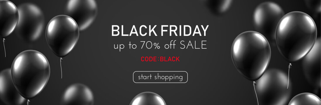 Black friday sale promo banner with shiny balloons.