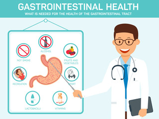 Gastrointestinal Health. Vector Flat Illustration.