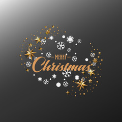 Merry Christmas Calligraphic Design and Decorated with Golden Stars and Beads and pyramid on dark grey background