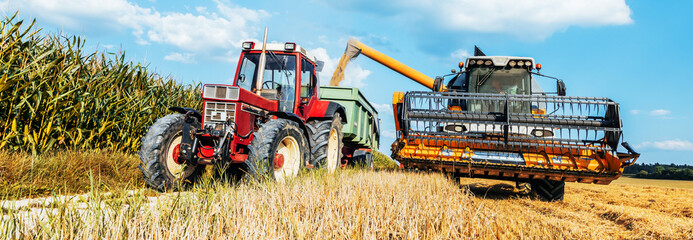 Combine harvesters Agricultural machinery. The machine for harvesting grain crops.