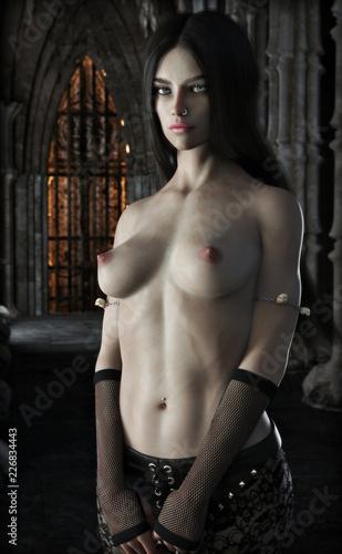 Seductive nude female vampire wearing Gothic pants posing in