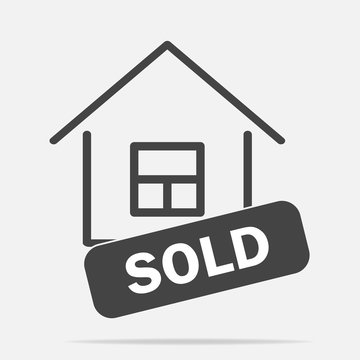 Sold house vector icon on gray background. Business illustration with shadow. Layers grouped for easy editing illustration. For your design.