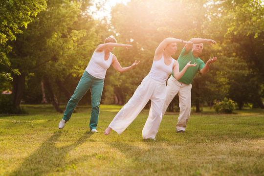 group of people practice Tai Chi Chuan in a park.  Chinese management skill Qi's energy.