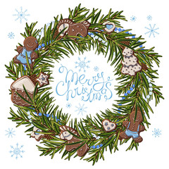 Group of vector colorful illustrations on the theme of Christmas Traditions; a wreath of green branches of a Christmas tree, decorated with New Year decorations.