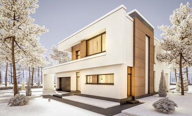 3d rendering of modern cozy house with garage for sale or rent with many snow on lawn. Cool winter evening with cozy warm light from windows