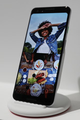 Google Pixel 3 third generation smartphone is seen on display after a news conference in Manhattan, New York