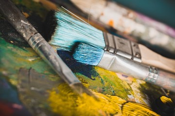 Paintbrushes on Palette