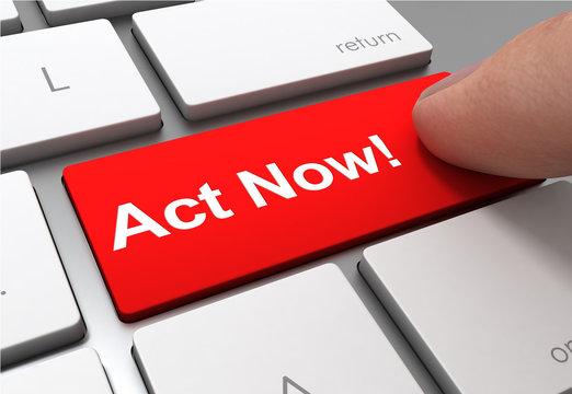 act now button concept 3d illustration