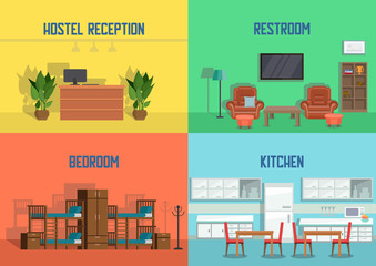 Hostel and Real Estate Service. Vector.