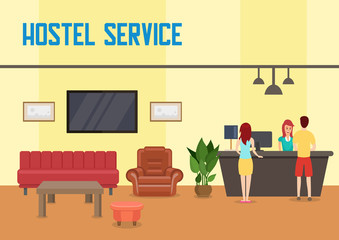 Hostel Service. Vector Flat Illustration.
