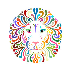 Lion face logo colorful, sketch for your design