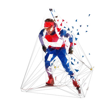 Biathlon skiing, low polygonal skier in blue jersey. Isolated vector illustration