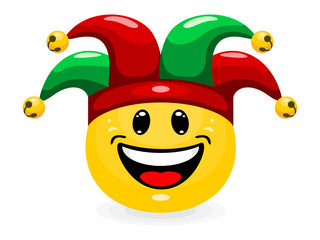 Cute emoticon in jester hat. Smiley in cartoon style isolated on white background