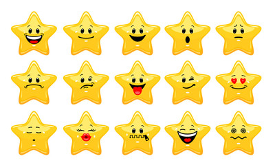 Vector set of star emoticons. Collection of yellow stars with different emotions in cartoon style on white background