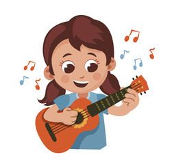 cute cartoon girl playing the guitar. child making music. vector illustration isolaten on white background.