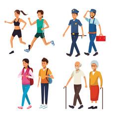 set city people walking cartoons