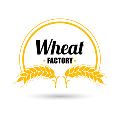Logo vector wheat factory on white background. Orange circle badge with gold ears of wheat. Flat design.