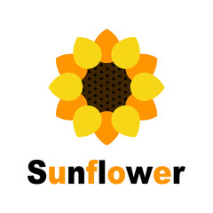 cartoon sunflower vector image with text