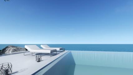 3d render modern pool sea view terrace living in modern style  pool bed view
