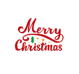 Merry Christmas. Holiday Vector Lettering. Text Calligraphic Lettering design for card template, banner.