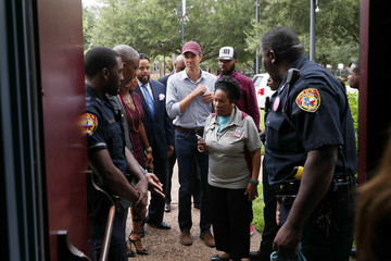 U.S. Rep. Beto O'Rourke makes his way inside with U.S. Rep. Sheila Jackson Lee for a campaign rally at Texas Southern University in Houston