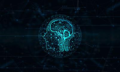 Artificial Intelligence - Künstlihe Intelligenz / Cyberspace graphic design. Wall mural
