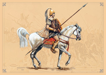Macedonian rider. Handmade historical illustration.