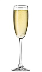 Champagne flute filled with champagne