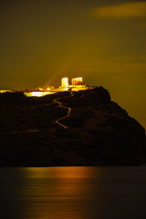 Greek temple of Poseidon at night, Cape Sounio