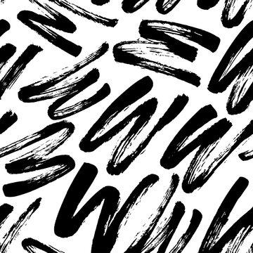 Seamless pattern with zig zag brush strokes. Modern monochrome texture.