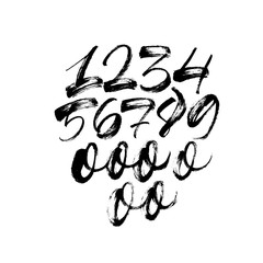 Set of numbers. Ink illustration. Modern vector brush calligraphy.