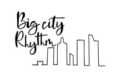Hand sketched Big city Rythm T-shirt texture lettering typography. Drawn inspirational quotation, motivational quote. Fortune logotype, badge, poster, logo, tag.  Vector illustration.